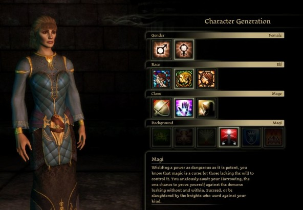 Dragonchasers 187 character creator gender race class and background