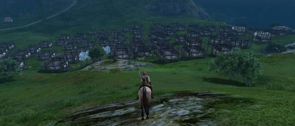 A packed housing area in ArcheAge.